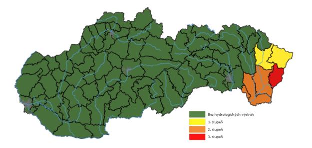 Hydrologické výstrahy o 14:00 - žltá farba: okresy Snina a Humenné, oranžová: Trebišov a Michalovce, červená: Sobrance
