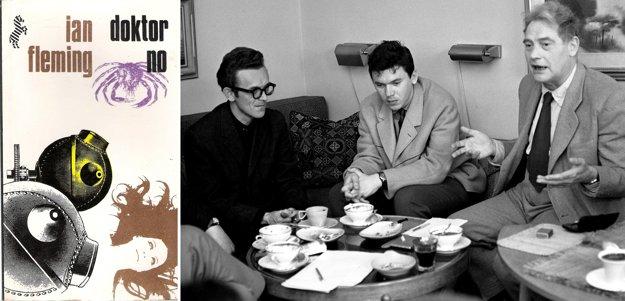 Obálka prvého slovenského vydania Jamesa Bonda (1968) a na snímke vedľa aj prekladateľ a spisovateľ Jozef Kot (v strede) v spoločnosti literárneho kritika Milana Hamadu a básnika Ladislava Novomeského v roku 1965.