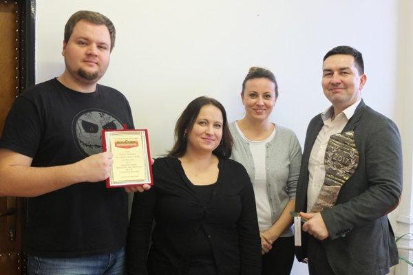 Komunikačný tím pretekov vzložení (zľava doprava): Michal Černaj, Lenka Ihradská, Katarína Reiterová aMartin Baláž.