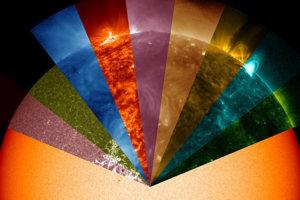 Slnko zachytené v rôznych vlnových dĺžkach, ktoré nie sú viditeľné voľným okom.