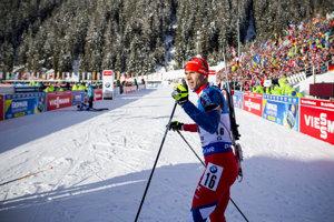 Biatlonista Matej Kazár počas pretekov v Anterselve.