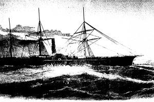 Kresba zobrazuje, ako vyzeral parník potopený v roku 1857.
