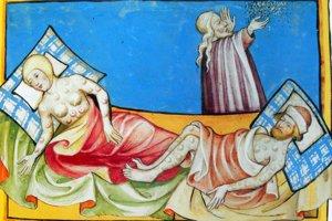 Nakazení bubonickým morom. Ilustrácia z Toggenburgskej biblie z roku 1411.