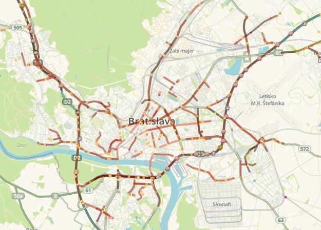 Ranná dopravná situácia v Bratislave.