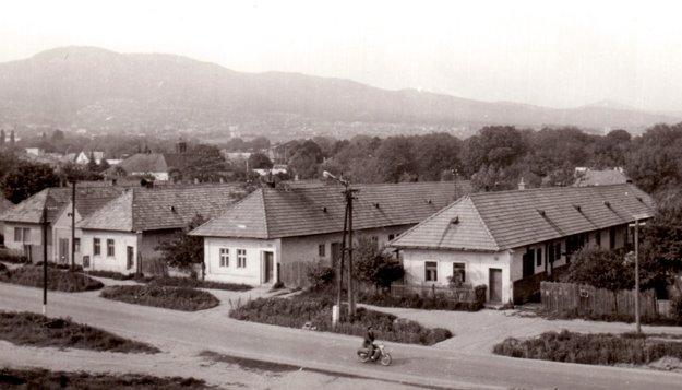 Dolný koniec obce s domami, ktoré mali typické dlhé dvory (zač. 70. rokov).