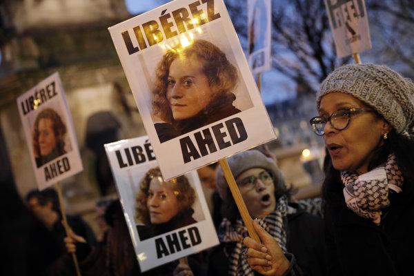 Demonštrácia za oslobodenie mladej Palestínčanky Tamímíovej.