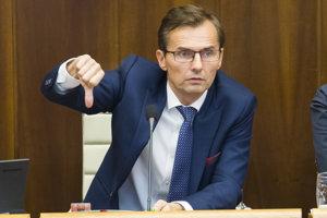 Ľubomír Galko (SaS) počas rokovania 26. schôdze NR SR.