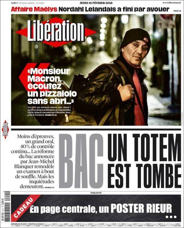 Moncefov príbeh na titulke denníka Libération.
