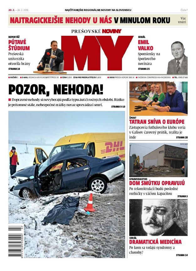 Titulná strana týždenníka MY Prešovské noviny č. 7/2018.