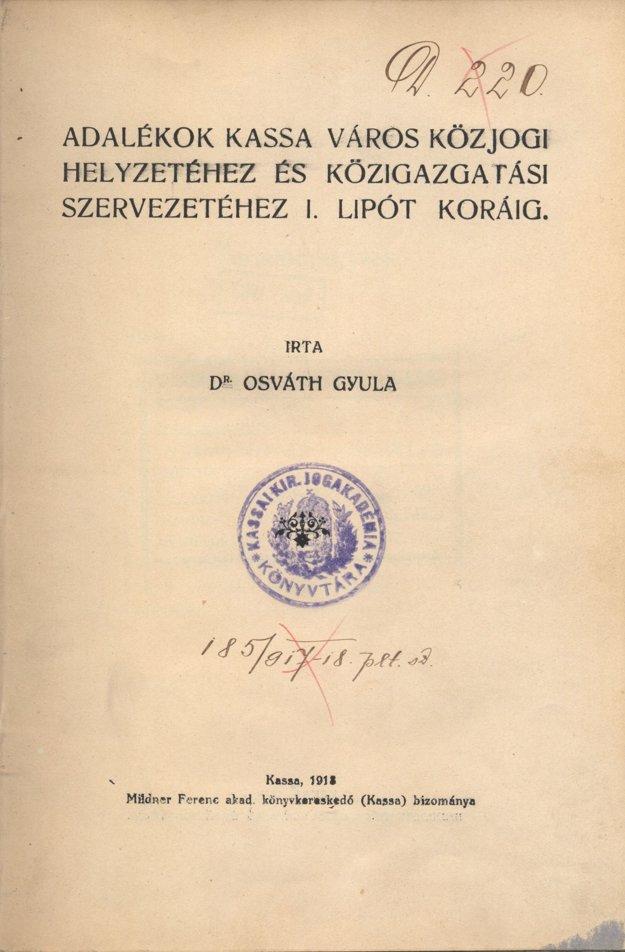 Titulný list Osváthovej publikácie z roku 1918.