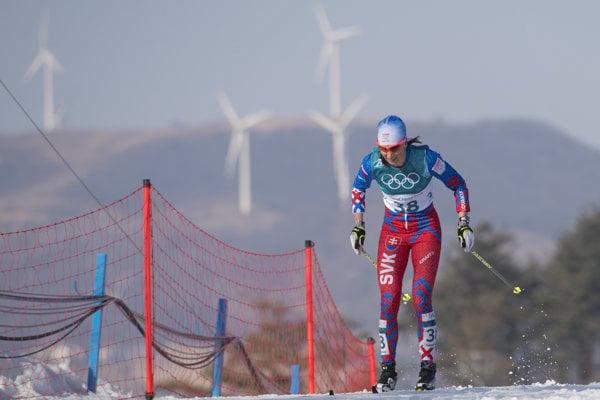 Na snímke slovenská bežkyňa na lyžiach Alena Procházková počas pretekov žien na 30 km klasickou technikou s hromadným štartom na ZOH 2018.