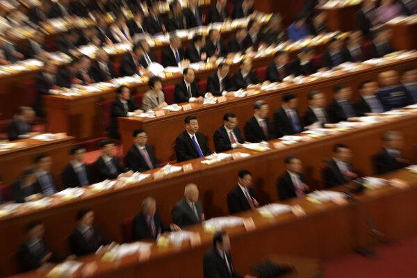 Čínsky Prezident Si na zhromaždení Komunistickej strany Číny.