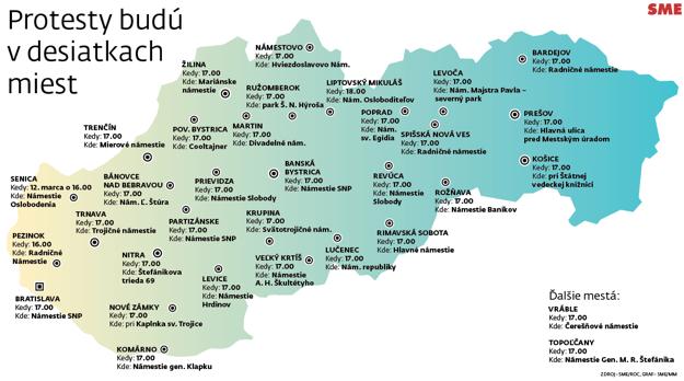 Mapa protestov. Kliknite pre zväčšenie.