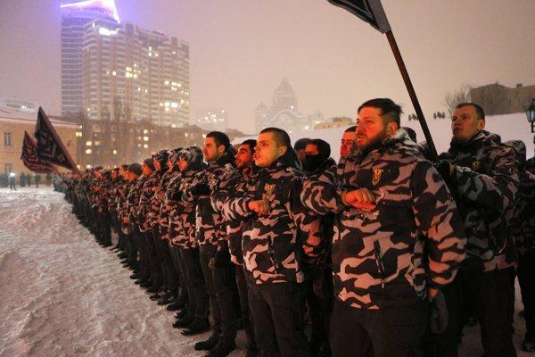 Prísaha na záver pochodu Kyjevom.