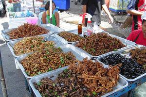 Ponuka rôznych druhov vyprážaného hmyzu na Thajskom trhu.