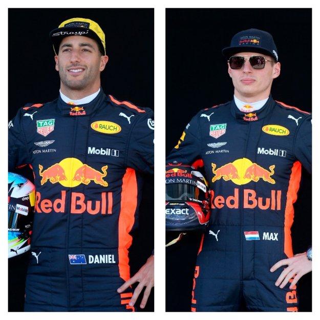 Holanďan Max Verstappen (vpravo) a Austrálčan Daniel Ricciardo.