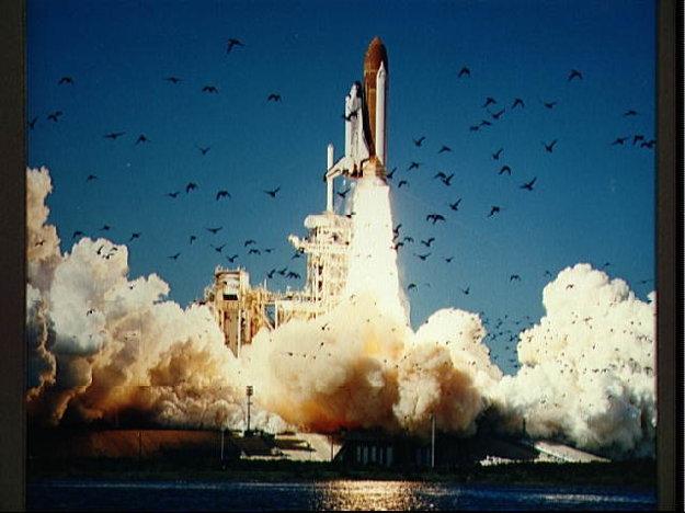 Štart raketoplánu Challenger misie 51-L.