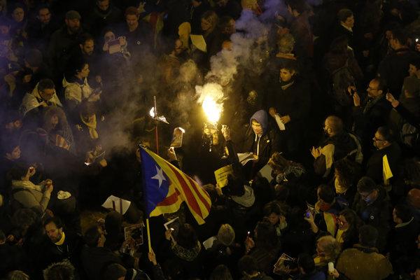 Demonštrácie v Katalánsku.
