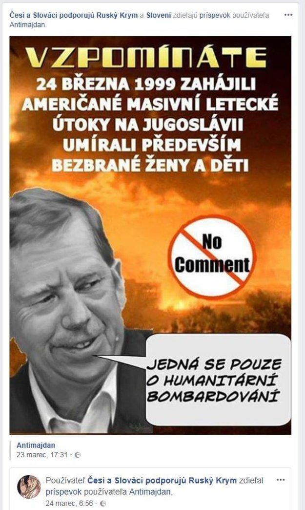 Obrázok pripisuje Václavovi Havlovi sfalšovaný výrok.