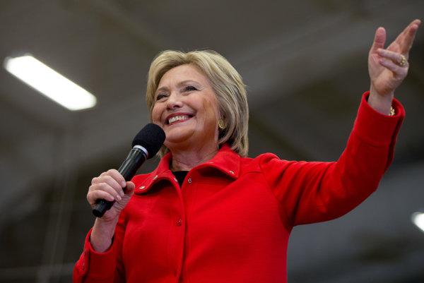 Hilary Clintonová počas svojej prezidentskej kampane v Cedar Rapids v Iowe.