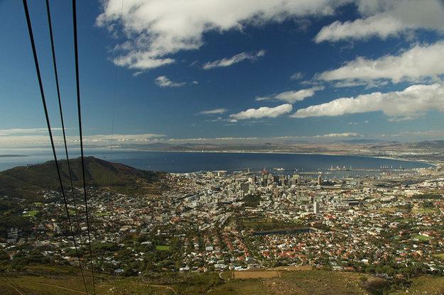 Výhľad na Kapské mesto zhora.