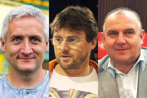 Kandidáti na post predsedu ZsFZ: zľava Robert Šuník, Ľubomír Moravčík a Pavol Šípoš.