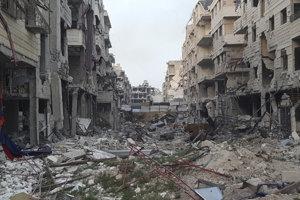 Zničené mesto vo východnej Ghúte.