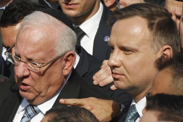 Izraelský prezident Reuven Rivlin s poľským náprotivkom Andrzejom Dudom.