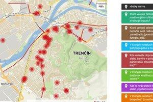 Pocitová mapa Trenčína.