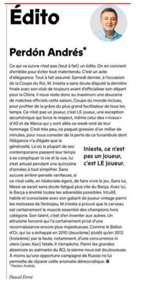 Editoriál francúzskeho futbalového časopisu.