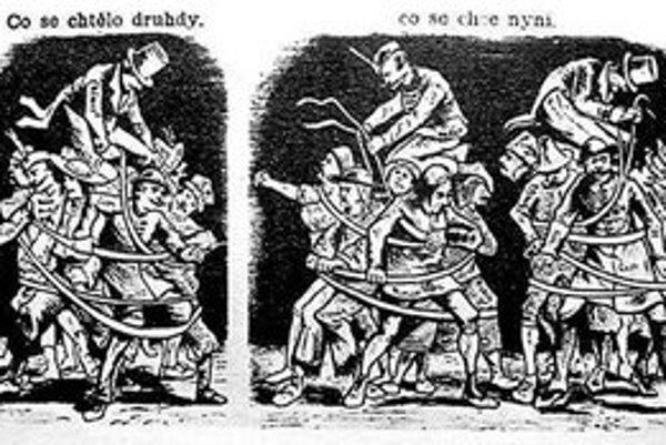 Karikatúra Quida Mánesa o národnostných pomeroch v RakúskoUhorsku.