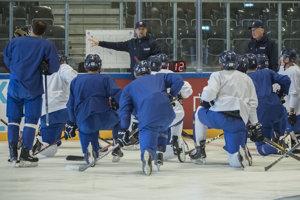 Slovenskí hokejisti sa prirpavujú na zápas s Ruskom.
