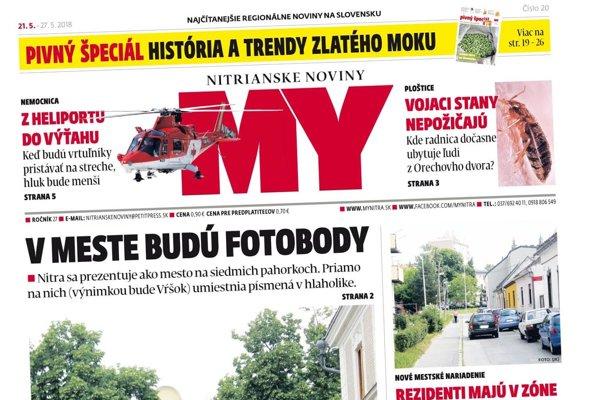 Najnovšie vydanie MY Nitrianskych novín nájdete na tradičných predajných miestach.