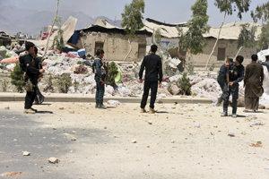 Miesto výbuchu v afganskom Kandaháre.