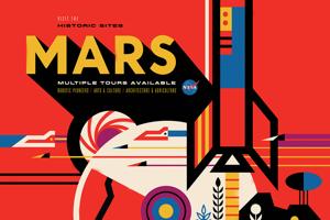 Tento plagát predstavuje budúcnosť, v ktorej sme dosiahli našu víziu prieskumu Marsu ľuďmi a ukazuje nostalgický pohľad späť na veľké imaginárne míľniky prieskumu Marsu, ktoré budú jedného dňa oslavované ako