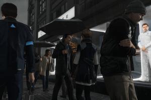 Ulica Detroitu v roku 2038. Modré trojuholníky označujú androidov.
