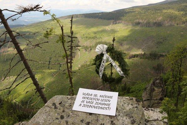 Veniec a lesy, ktoré prišli o život.