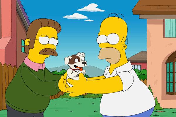 Hviezdami dielu bol Homer Simpson (vpravo) a jeho sused Ned Flanders.