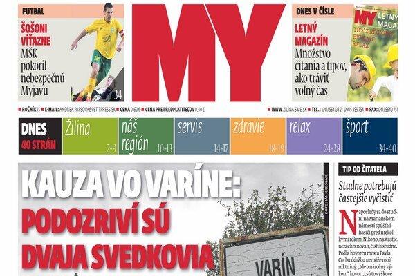 Titulka najnovšieho vydania MY Žilinských novín.