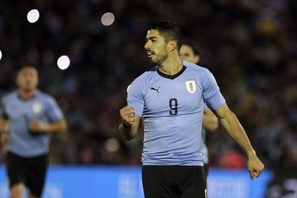 Luis Suárez v reprezentačnom drese Uruguaja.
