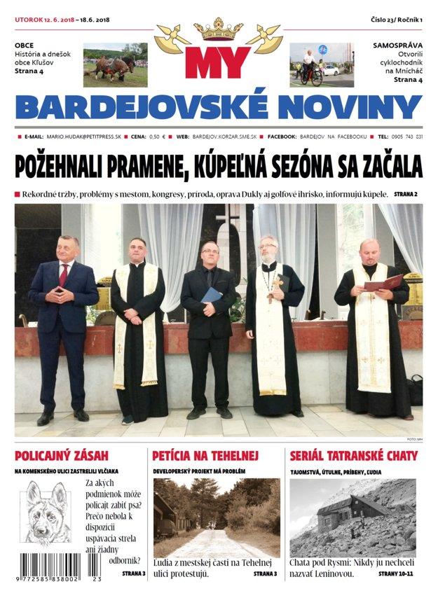 Titulka MY Bardejovské noviny číslo 23