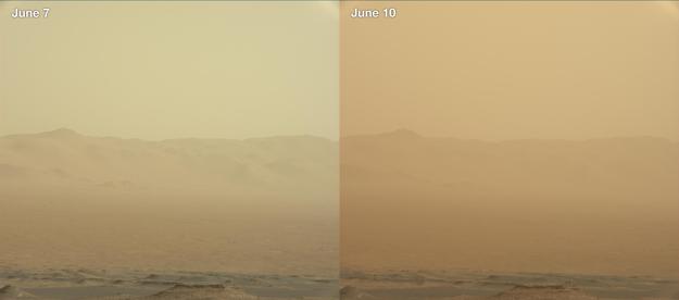 Dva zábery z roveru Curiosity ukazujú narastajúcu hustotu búrky. Rover poháňa malý jadrový reaktor. Nachádza sa na okraji búrky.