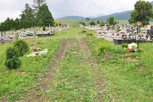 Medzi hrobmi vedú len trávnaté chodníky.