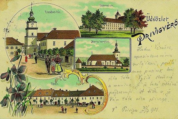 Prievidza na kolorovanej pohľadnici zroku 1901.