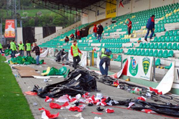 Takto dopadlo vyčíňanie trnavských fanúšikov vo finálovom zápase Slovenského pohára v minulej sezóne.