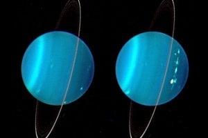 Infračervený zložený záber dvoch hemisfér Uránu, ktorý urobil Keckov teleskop.