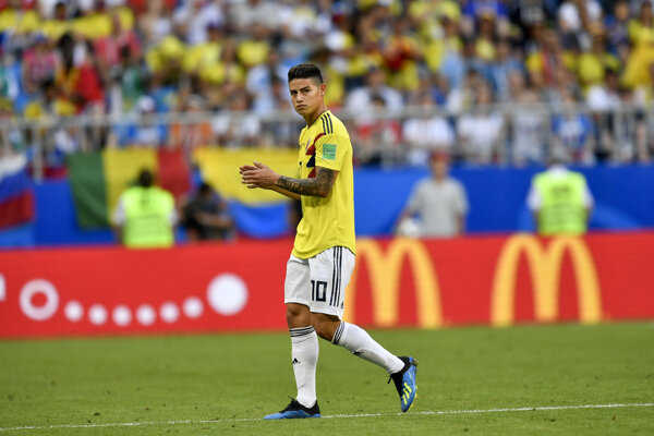Kolumbijský futbalista James Rodriguez v národnom drese.