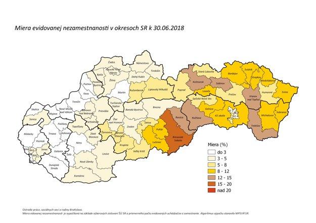 Miera evidovanej nezamestnanosti v jednotlivých okresoch SR k 30.6.2018.