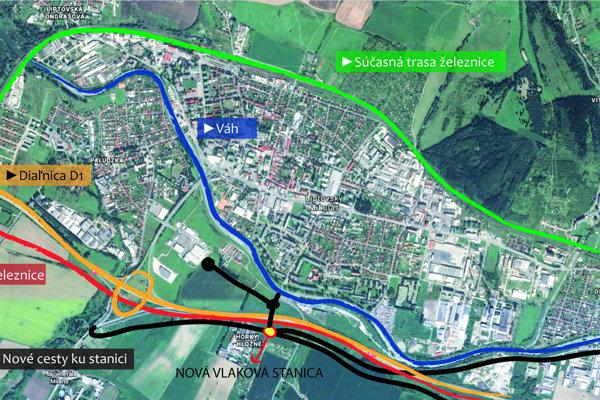 Základná vizualizácia nového usporiadania dopravy v Liptovskom Mikuláši po prekládke železnice. Po starej železničnej trase (zelenou) by mala viesť v budúcnosti nová cesta. Od novej stanice v smere k nákupnému centru pribudnú dva nové kruhové objazdy.