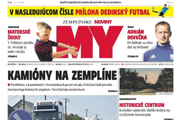 Titulná strana týždenníka MY Zemplínske noviny č. 31/2018.